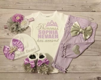 Baby Girl Coming Home Outfit, Baby Girl Clothes, Personalized, Newborn Girl, Outfit, Name, Take Home, Newborn Baby, Worth the Wait, Princess