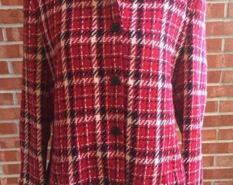 Vintage 80s, 90s Villager Liz Claiborne red, white, black houndstooth blazer. Size 16
