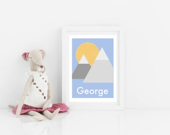 Customisable personalised digital download art print, kids art print, little explorer, mountain, scandi bedroom print, birthday, new baby
