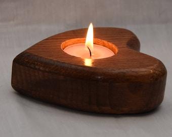 Handmade solid Oak Heart Shaped Tea Light Holder