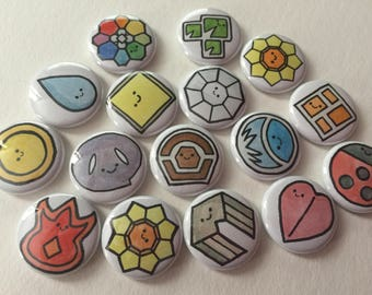 Pokemon Badge Adorkables - 1 inch pins or magnets - Set of Eight