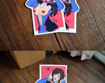 Mature D.va Sticker, Overwatch sticker, sexy sticker, Diva Sticker, handmade sticker, large sticker