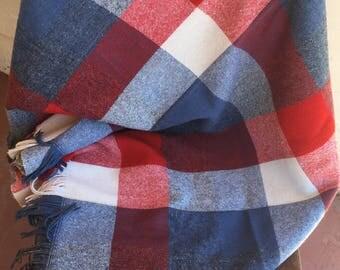 Vintage Faribo Throw Stadium Blanket Picnic Blanket Red White Blue Tartan 4th of July