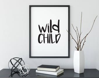 Wild Child Print, Kids Room Print, Modern Print, Minimalist Decor, Playroom Decor, Wall Decor, Modern Kids, Home Decor, Kids Room Decor