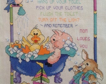 Cross Stitch Finished, Kids Bathroom Instructions, Mom Loves You