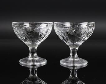 Wine Glass Goblets Fruit design banded ring pattern set of 2 vintage antique