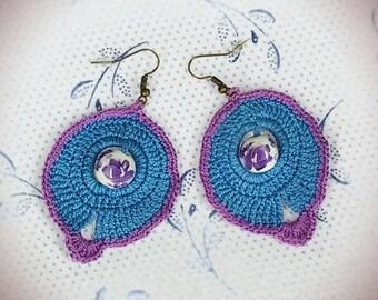 Crochet Earrings with Ceramic Beads, Crochet Earrings Pattern, Crochet Chart, Download PDF, DIY, Crochet Jewelry Diagram, Crochet Pattern