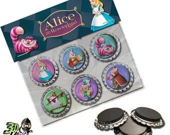 Alice in Wonderland Magnets   Bottle Cap Magnets   Party Favors   Gift
