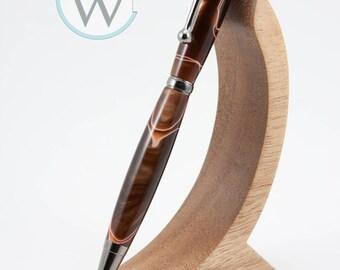 Slimline Twist Pen in Black Titanium Nitride paired with Aqua Bright Copper acrylic