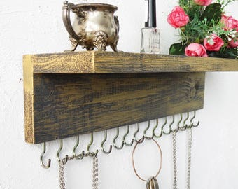 Jewelry Organizer With Shelf, Necklace Holder, Black and Gold, Necklace Storage, Wooden Jewelry Holder