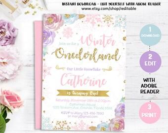 Winter Onederland Invitation, Snowflake Birthday Invite, Pink and Gold, Purple, Instant download, Girl Onederland, 1st Winter wonderland