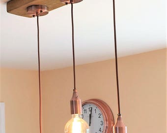 Retro ceiling light fitting timber base and three copper pendants/lampholders