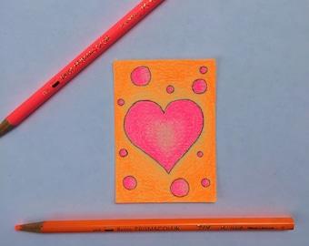 Original Art Card - Neon Hearts