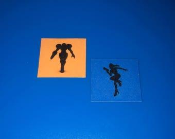 METROID Set of Super Smash Bros Hero Icons Set of Stickers [ Pin Icons Available ] Zero Suit Samus Aran