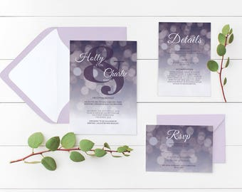 Bokeh Wedding Invitation Printable | Minimalist | Wishing Well | Contemporary | Personalised | Sophisticated | Purple | Details Card | RSVP