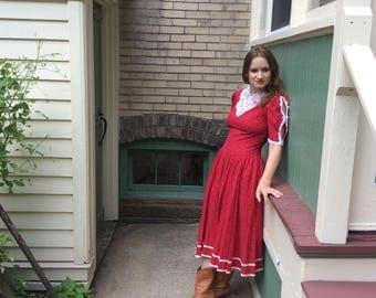 Vintage 1970's Red Floral Gunne Sax Dress by Jessica McClintock