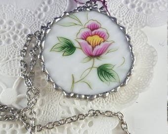 Broken China Circle Pendant