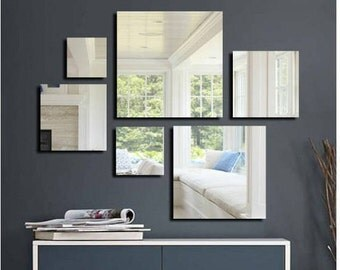 Large square acrylic mirror set, large geometrical wall art, unique gift, wall decal