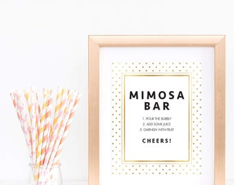 Gold Polka Dots Baby Shower Mimosa Bar Sign White and Gold Glitter Champagne Bar Sign Pour the Bubbly Bar Sign Gold Confetti Decorations GD1