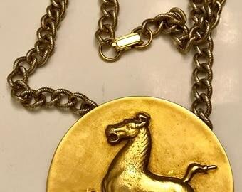 Vintage Alva Museum Replicas 1974 Flying Horse of Kansu Medallion Necklace