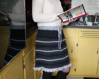 Black and Grey Wool Sweater Skirt