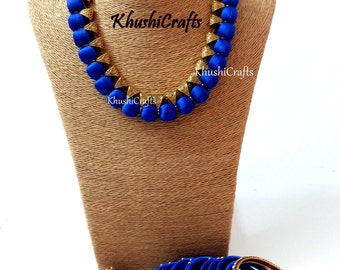 Blue Silk Thread Jewelry Set with Jhumkas and matching bangles -Handmade Indian Jewelry