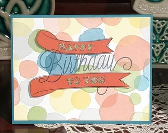 Watercolor Theme Happy Birthday Greeting Card
