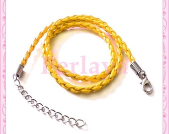 1 REF339 yellow braided leather Choker