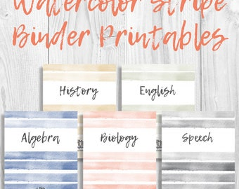 Printable Binder Covers/Inserts | Watercolor Stripe | Set of 5 Binder Covers w/ Spines | 5 Colors | Instant Download | MhmmCrafts