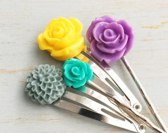 Spring Flower Hair Accessories, Bobby Pins, Silver Hair Clips, Wedding Accessories,