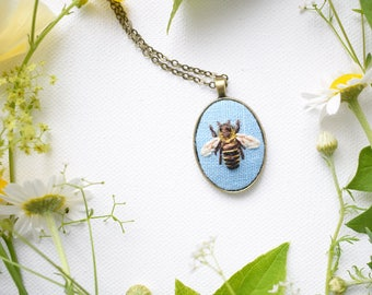 Hand Embroidered Honey Bee Necklace, Honey Bee Pendant, Bee Necklace, Hand Embroidered Pendant