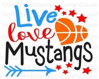 Baketball Mustangs SVG Clipart Cut Files Silhouette Cameo Svg for Cricut and Vinyl File cutting Digital cuts file DXF Png Pdf Eps