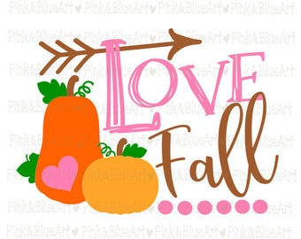 Love fall pumpkin SVG Clipart Cut Files Silhouette Cameo Svg for Cricut and Vinyl File cutting Digital cuts file DXF Png Pdf Eps