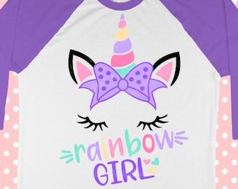 Unicorn svg - Unicorn shirt svg - Rainbow unicorn svg - Unicorn face svg -Bow svg-Birthday svg- Little girl svg - Digital download - iron on