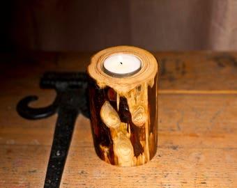 Tea Light Holder and Incense Burner, Pine Log, Natural, Rustic, Candle