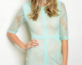 Sleek Mint Lace Dress