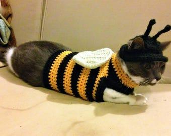 Custom Crochet Cat Costume- Bumblebee