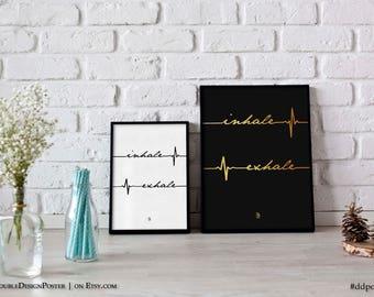 Inhale Exhale Print Printable Art Instant Download Minimalist Typography Yoga Wall