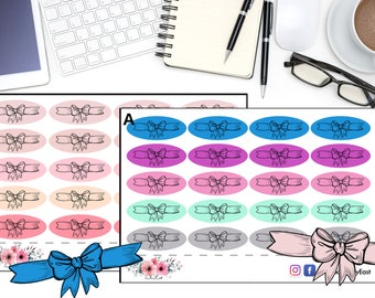Bows Planner Stickers,  Cute Bow Stickers, Hand Drawn Sticker