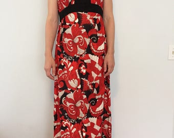 Vintage Maxi Dress / Red, White and Black Long Dress / Retro Style Dress / Retro Vibes Long Floral Pattern Dress