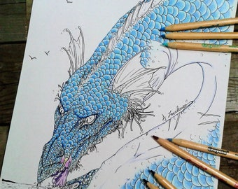 Dragon Colouring Page, Adult Colouring Page, Printable Colouring Page, Sea Dragon
