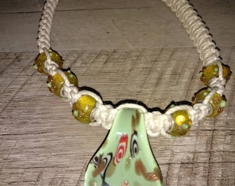 Handcrafted Hemp Necklace with Hand Blown Glass Pendant and Glass Beads
