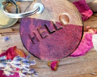 Small.Hello.Circle.Leather.Keychain