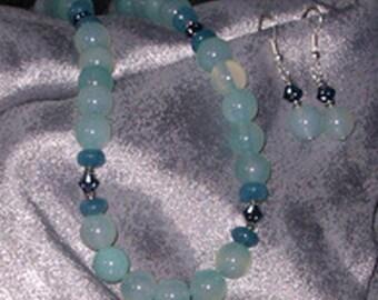 Sea blue Chalcedony Necklace Set