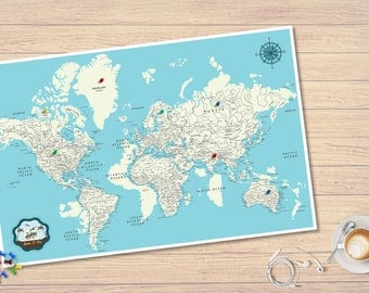 Foam Board Push Pin World Map -  Pins Board Map - Personalized Map Gift for Couple - Unique Couple Adventure Gift - Free Shipping - FedEx