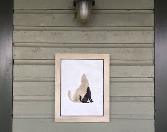 Wolf Silhouette Cottage Wall Art on Wood Canvas