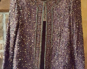 Vintage Silk Beaded Sequin Jacket