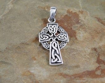 Sterling Silver Celtic Sun Cross Pendant with chain  Irish jewelry Celtic Cross Necklace