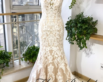 Custom made Cotton lace and champagne lining wedding dress with beaded neckline, fishtail/mermaid shape