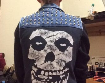 Rick and Morty Fiend Denim Studded vest; Misfits